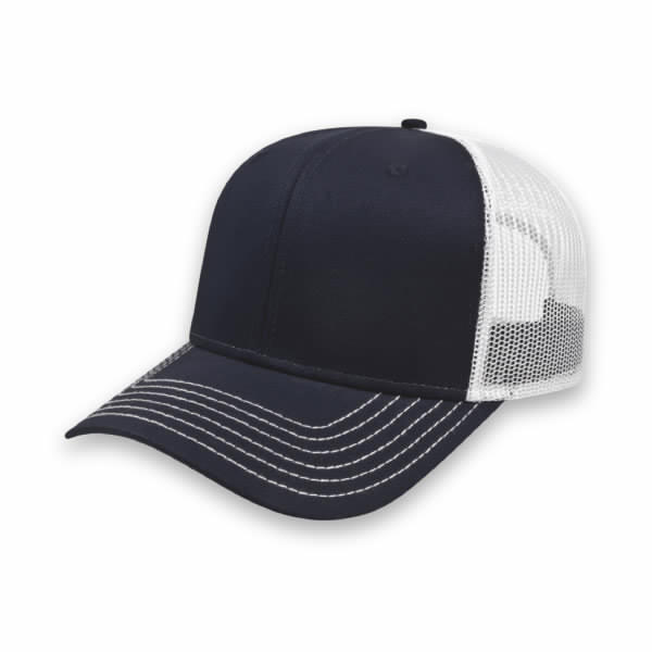 Navy/White Modified Flat Bill with Mesh Back Cap